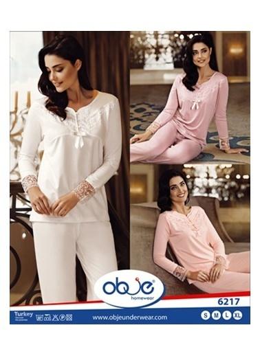 Obje Dilim Dantelli Kadın Pijama Takımı Ekru